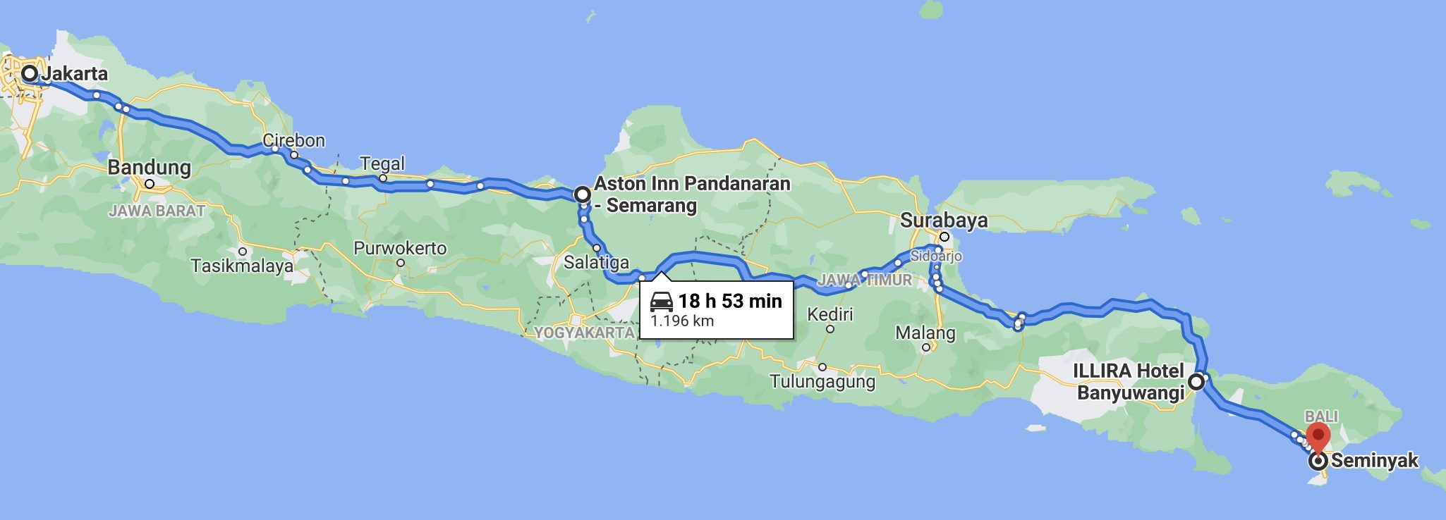 Travel Route From Jakarta To Bali