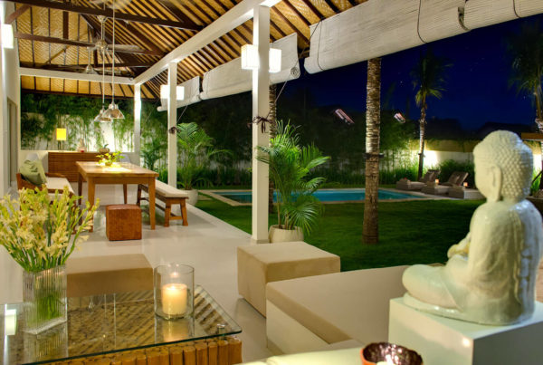 Luxury Private Villa with Pool to Rent for your Holidays in Bali, Sahana Villas Seminyak night lounge view